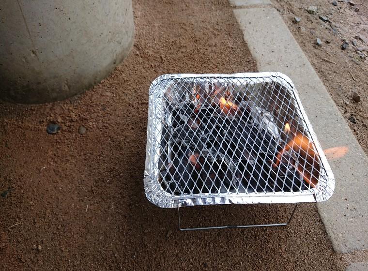 燃えるコンロ